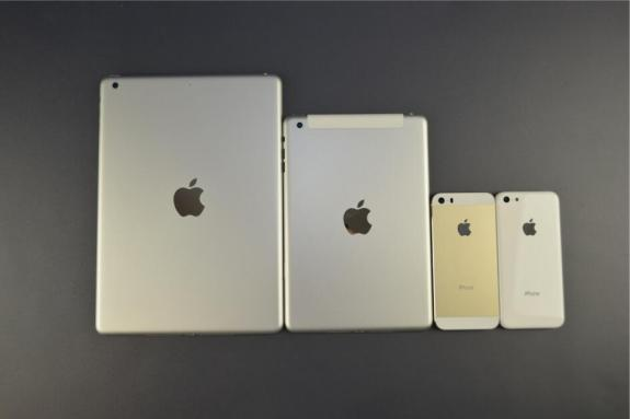 This photo shows the back shells of what are thought to be the iPad 5, iPad mini 2, iPhone 5S and iPhone 5C.