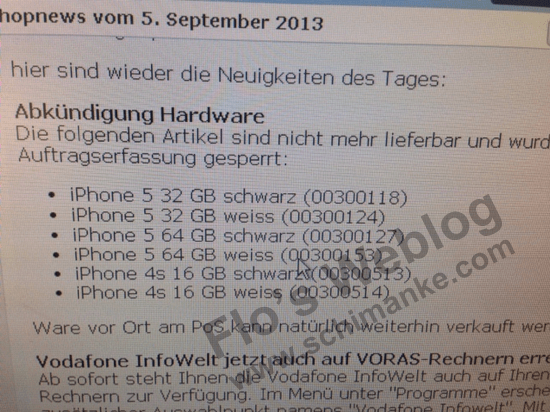 The iPhone 5S and iPhone 5C could push out the iPhone 5, at least at Vodafone Germany.