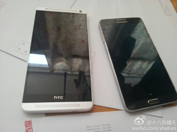 The HTC One max next to the Galaxy Note 3.