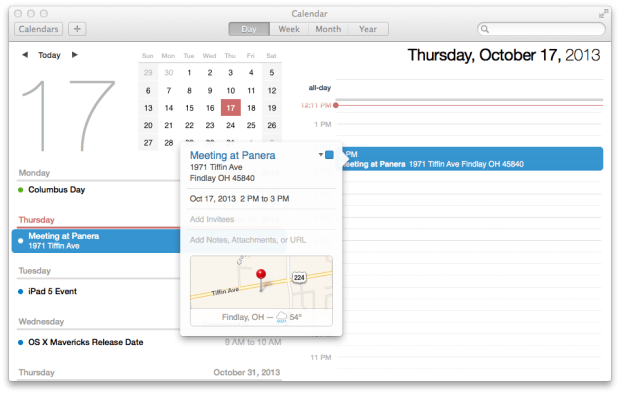 The calendar is smarter in OS X Mavericks with traffic, locations and easier adding.