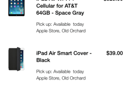 iPad Air Order for Personal Pickup