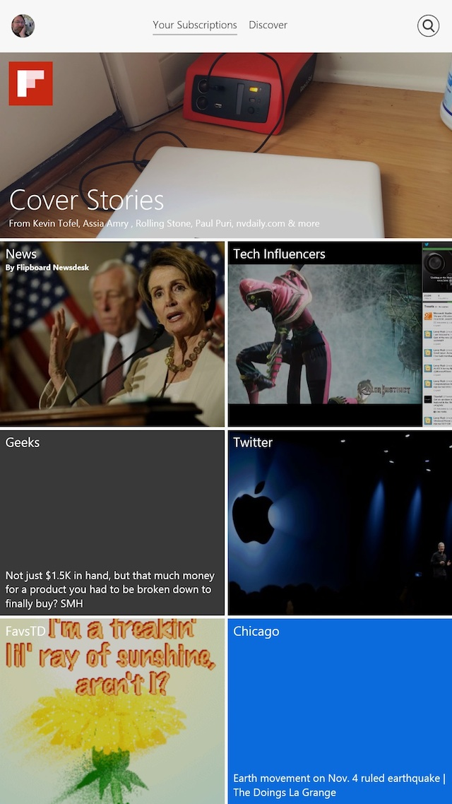 Flipboard on Windows 8.1 looks very good in portrait mode