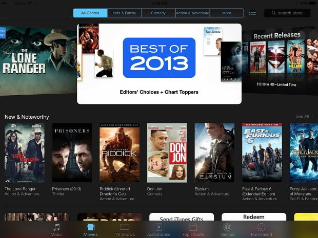Tap on Movies to see the movies you can rent or buy on the iPad.