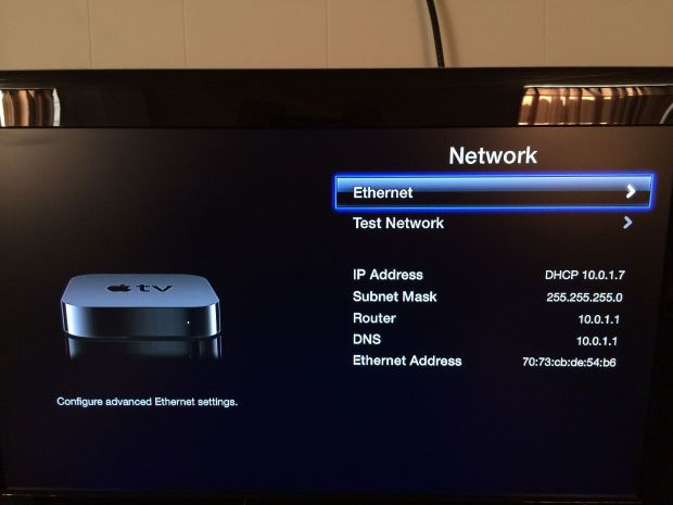 apple tv ethernet setup
