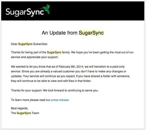 sugarsync email