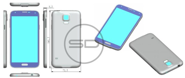 A new Samsung Galaxy S5 rumor shows a possible design and dimensions.