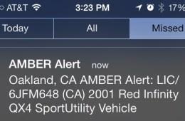 An iPhone Amber alert.
