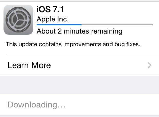 Wait for the iOS 7.1 download to complete before installation starts.