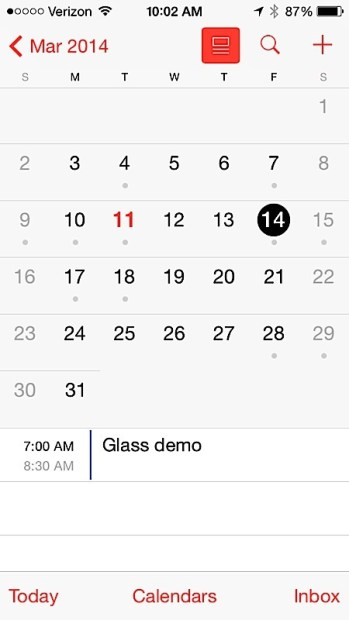 Use list view in the iOS 7.1 calendar for faster access to meetings.