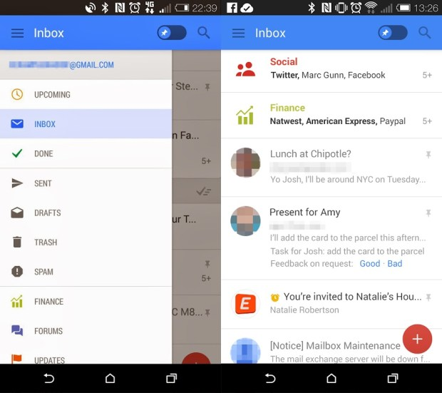 Potential redesign of Gmail for Android.