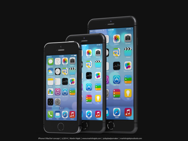 This concept from Martin Hajek shows a iPhone 6 4.7-inch vs iPhone 6 5.5-inch size comparison.
