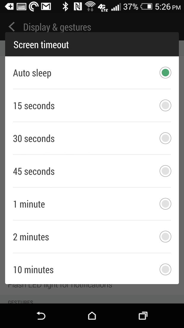 htc one m8 screen timeout settings