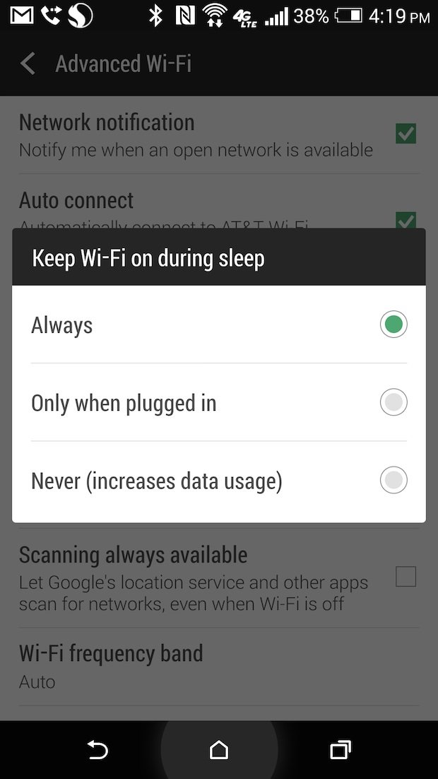 htc one wi-fi power savings