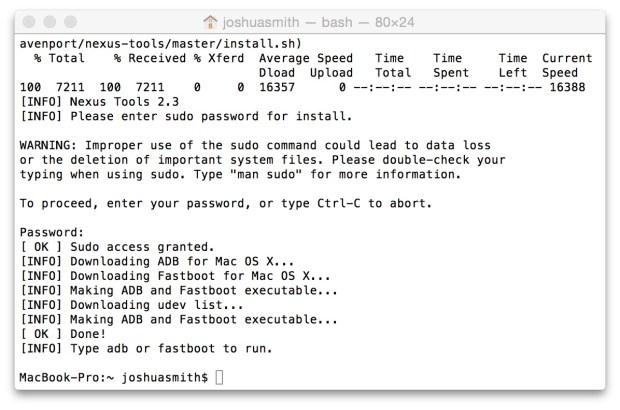 This tool installs ADB on Mac, Linux and ChromeOS easily.