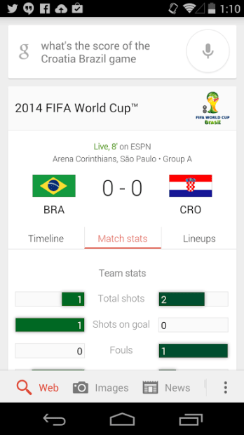 Google Now is also an effective way to keep track of scores, stats and more.
