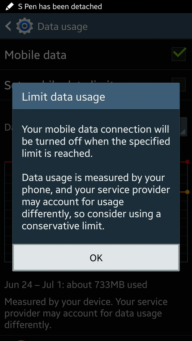 data usage warning on galaxy note 3