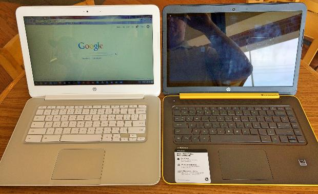 hp chomebook and slatebook side by side