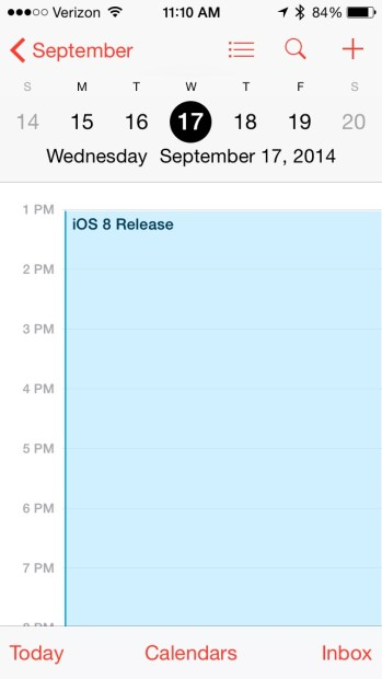 Expect a Sept. 17 iOS 8 release date.