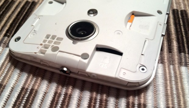 You can remove the back of the new Moto G for access to a Micro SD card slot.