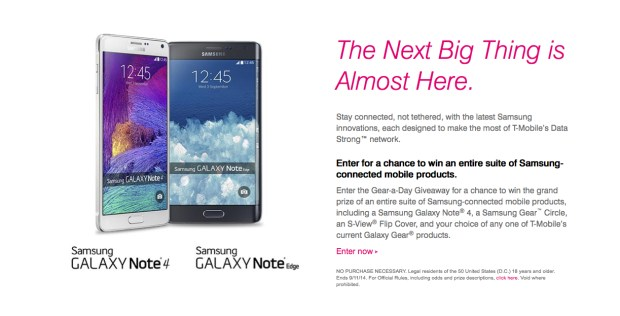 T-Mobile is offering a Galaxy Note 4 contest to those that pre-register.