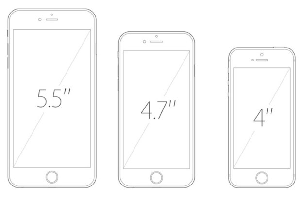 iPhone 6 Plus vs iPhone 6 vs iPhone 5s screen