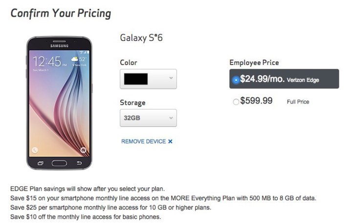 You can check out with what looks like a Verizon early upgrade to the Galaxy S6, but don't expect it to ship.