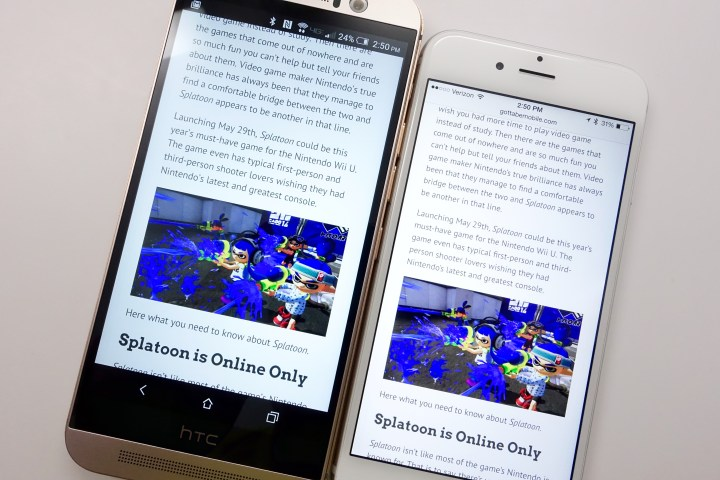 The HTC  One M9 display is good, but the whites include a blue tinge.