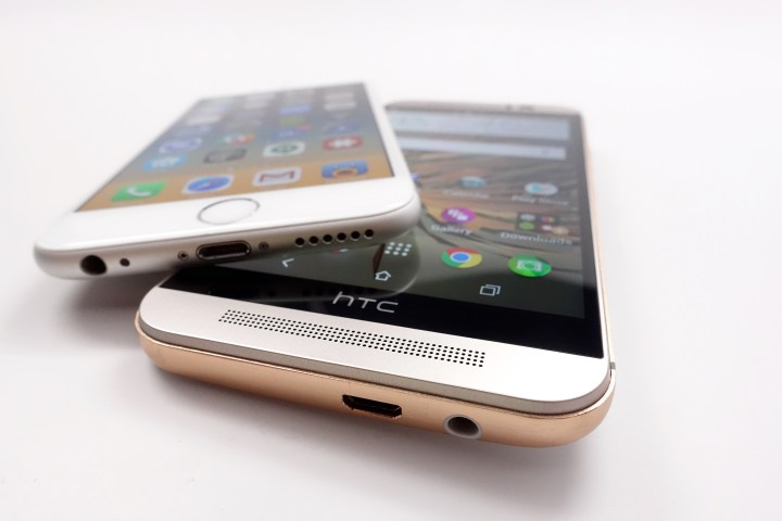 The HTC One M9 BoomSound speakers beat the single iPhone speaker.