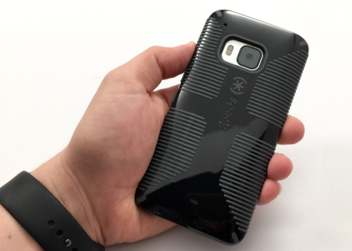 The HTC One M9 case from Speck adds a lot of grip to the phone.