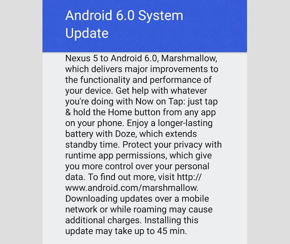 Nexus 5 Android 6.0 Battery Life Update