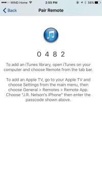 Apple iOS Remote App Pairing