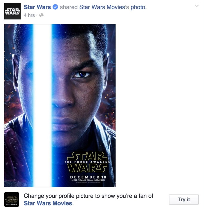 How to change your profile photo to a Facebook Star Wars lightsaber photo.