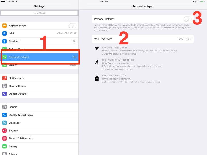 set up personal hotspot on ipad pro
