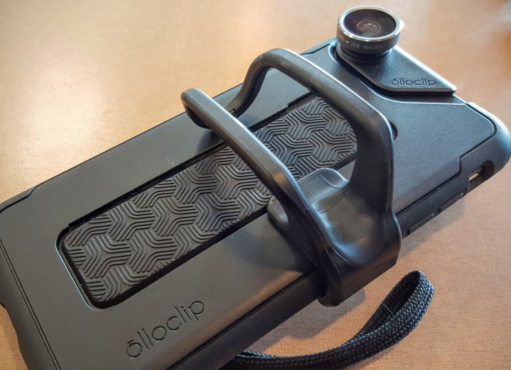 The Olloclip Studio finger attachment makes it easier to grip the iPhone while taking shots or video.
