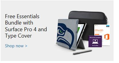 microsoft store surface pro 4 deal type cover essentials bundle