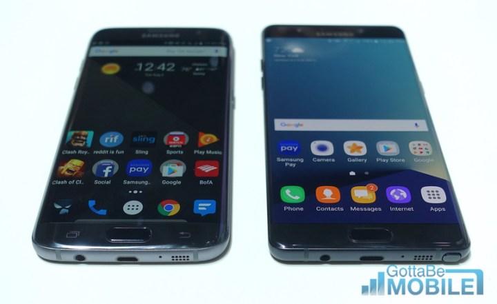 Galaxy S7 Edge (left) vs Note 7 (Right)