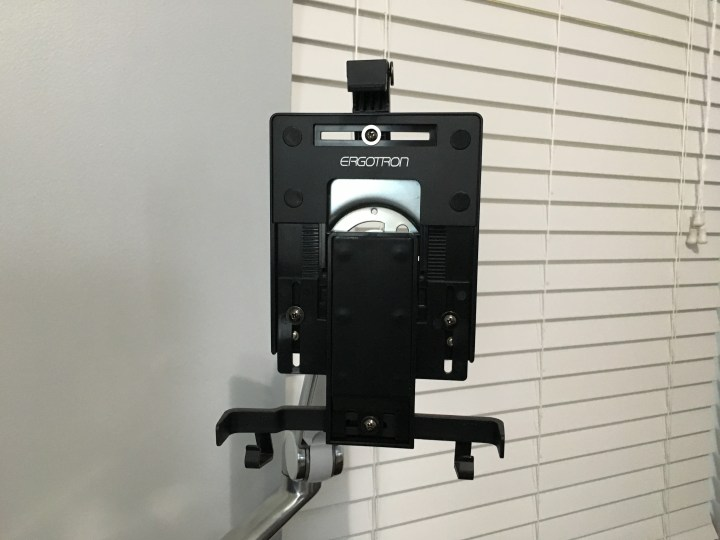 The mount and arm allow you to hold a tablet up to 10 inches in place at a variety of angles and heights.