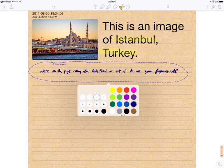 Select drawing or writing and change the color or thickness of the strokes in Notability.