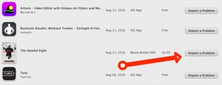 Report iTunes App Problem Refund Request - 1