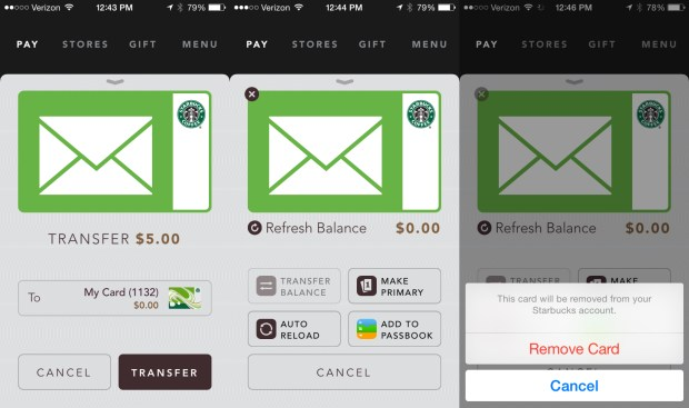You can also manage the Starbucks gift card balance in the app.