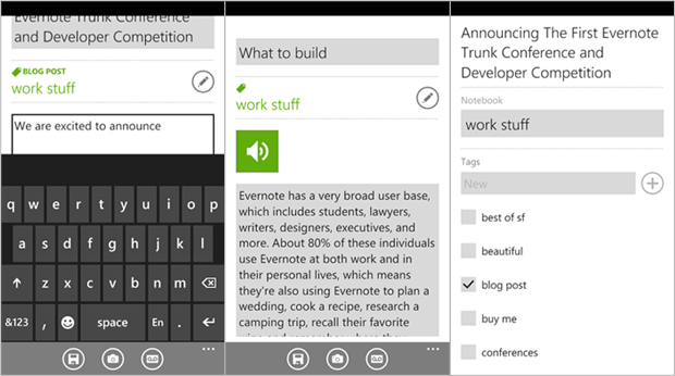 Evernote Windows PHone 7 App Note Entering