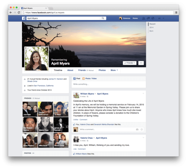 Sample Facebook memorial page.