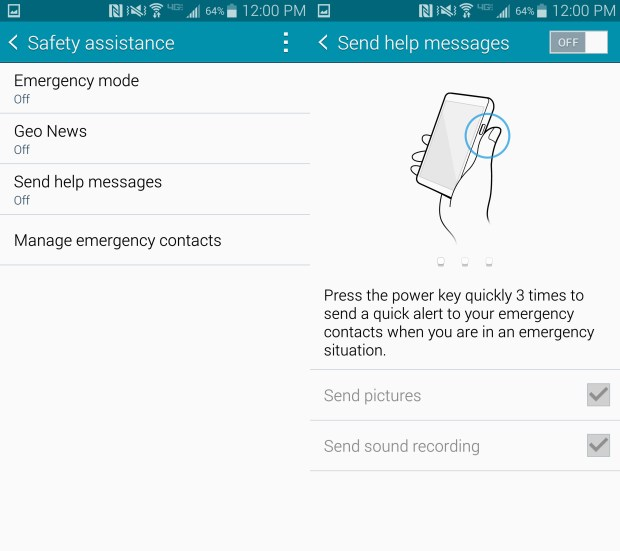 Let the Galaxy Note 4 send an alert when you need help.
