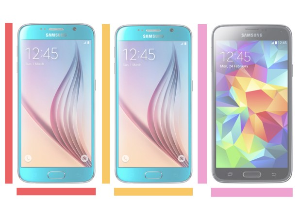 Galaxy S6 vs. Galaxy S6 Edge vs. Galaxy S5.
