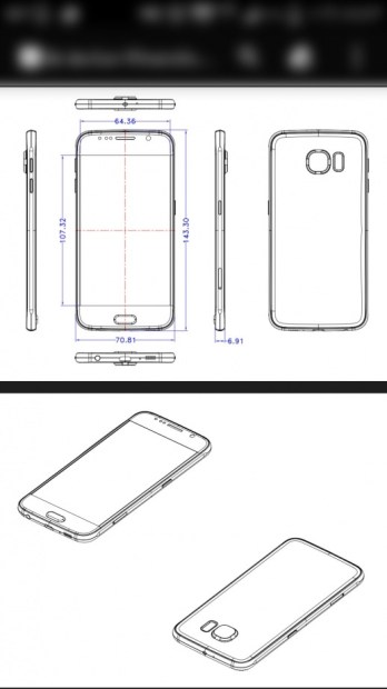 These schematics could show the Galaxy S6's dimensions.