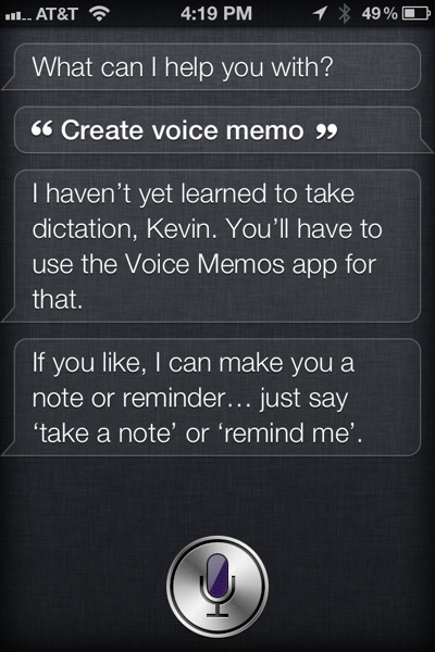 Siri can't record voice memos