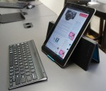 Logitech Tablet Keyboard with Samsung Galaxy Tab in portrait orientation