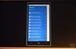Word for Windows 10 mobile, captured by The Verge.