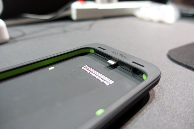 The green areas show the new bumpers that make up the high-impact protection on the juice pack plus.