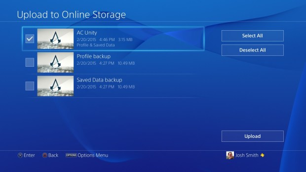 Save PS4 games to USB or the cloud.